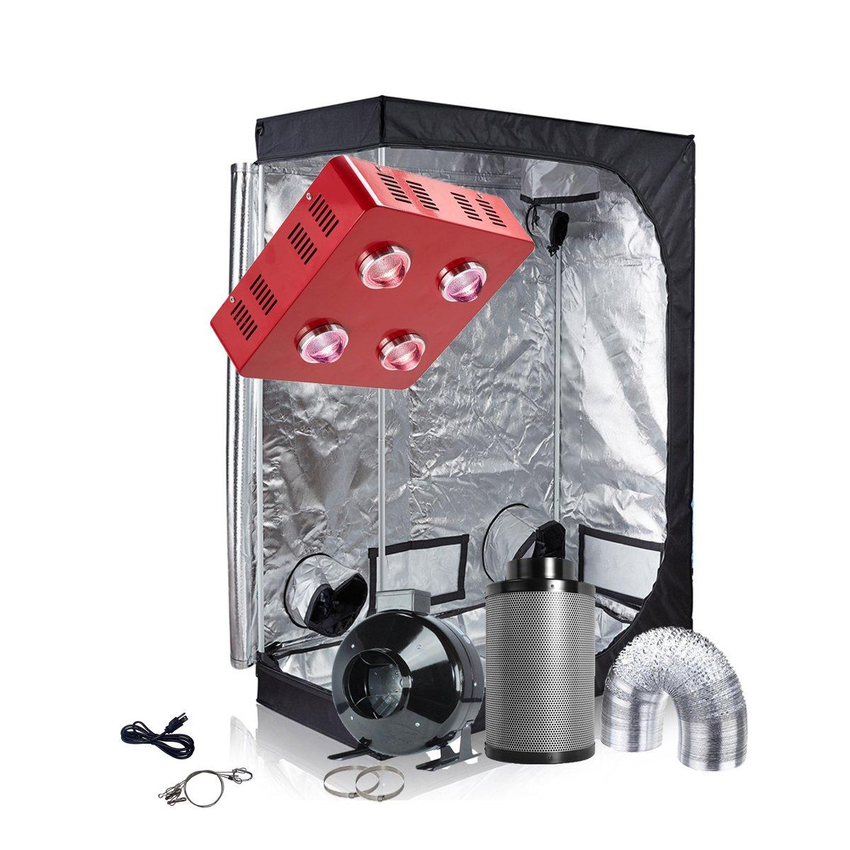 TopoGrow Grow Tent Kit LED 800W COB Grow Light Kit +48''X24''X72'' Indoor Grow Tent + 6'' Inline Fan Filter Ventilation Kit (LED800W+48''X24''X72''+6''Ventilation Kit) by TopoGrow