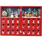 Christmas advent calendar木製の赤い本のクリスマスカレンダーは24個の引き出し
