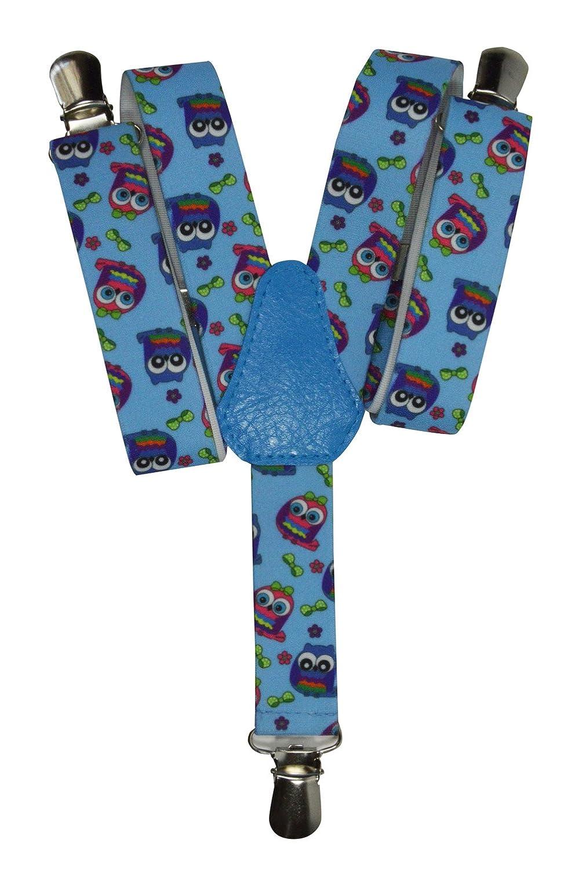 Olata Bretelles entièrement réglable pour les enfants 1-5 ans - Hibou motif KIDSBRACESJowl-blue