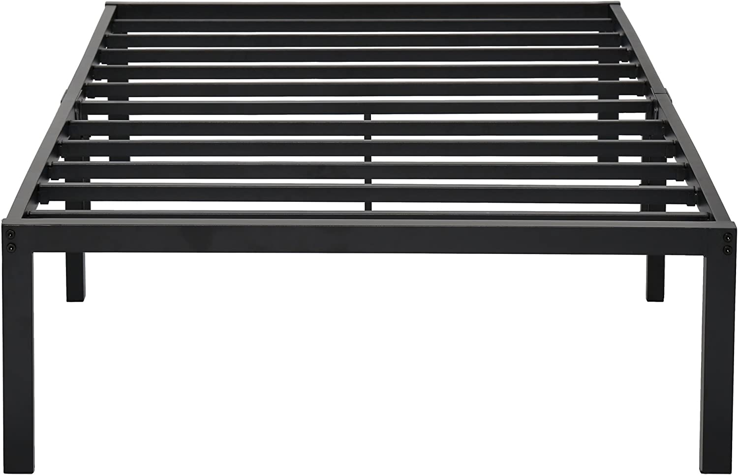 PrimaSleep 14 Inch Tall Simple Sturdy Steel Slat Metal Bed Frame Non Slip Ample Storage Space,Twin