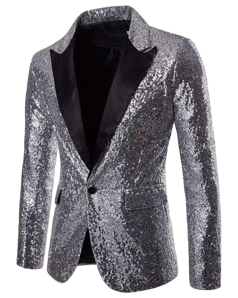 Mens Fashion Sequins Dress Coat - Slim Fit Party Jacket Shiny Wedding Suit Blazer Silver US L by lexiart