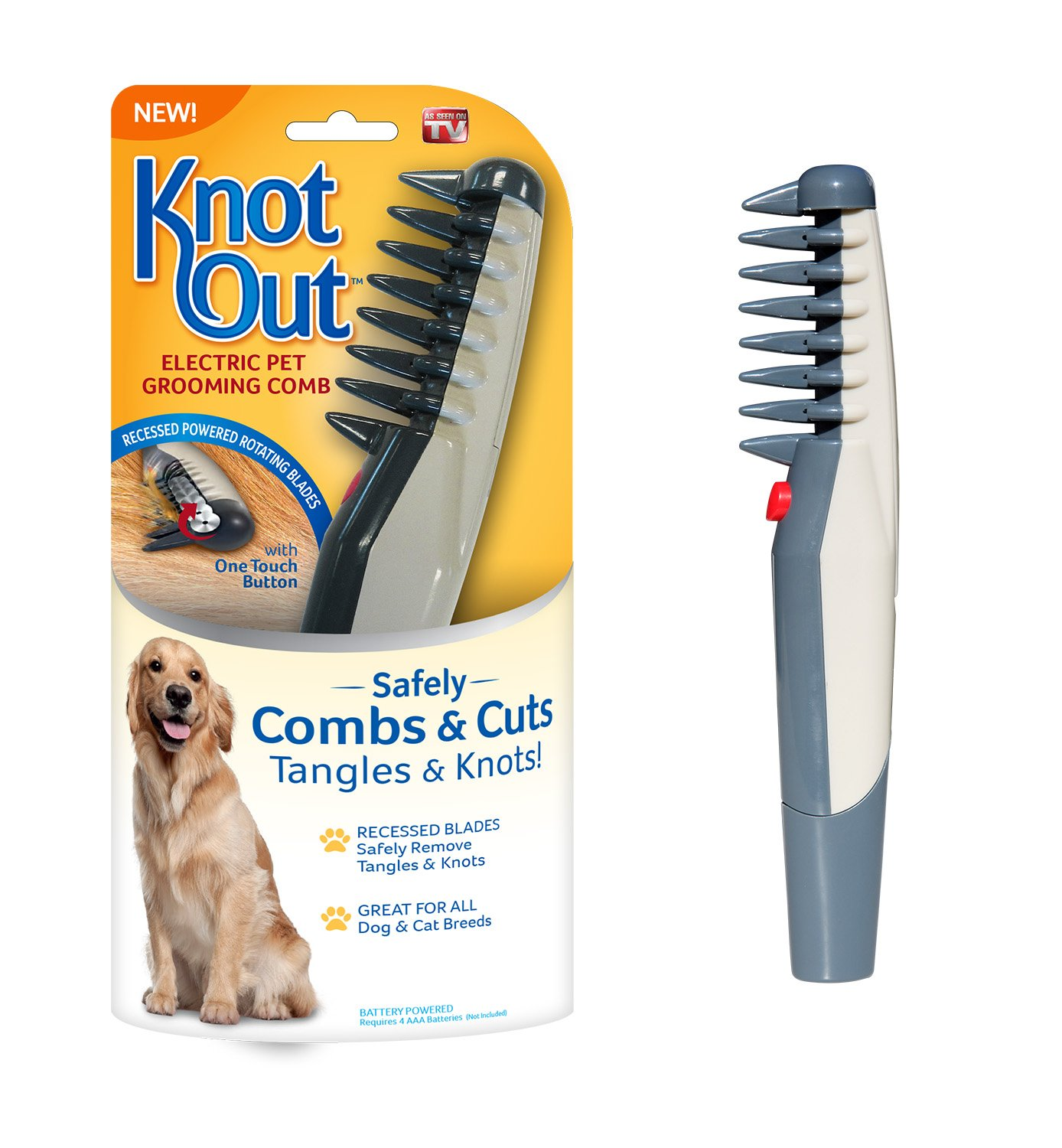 Allstar Innovations Knot Out Electric Pet Grooming Comb - Remove Knots and Tangles