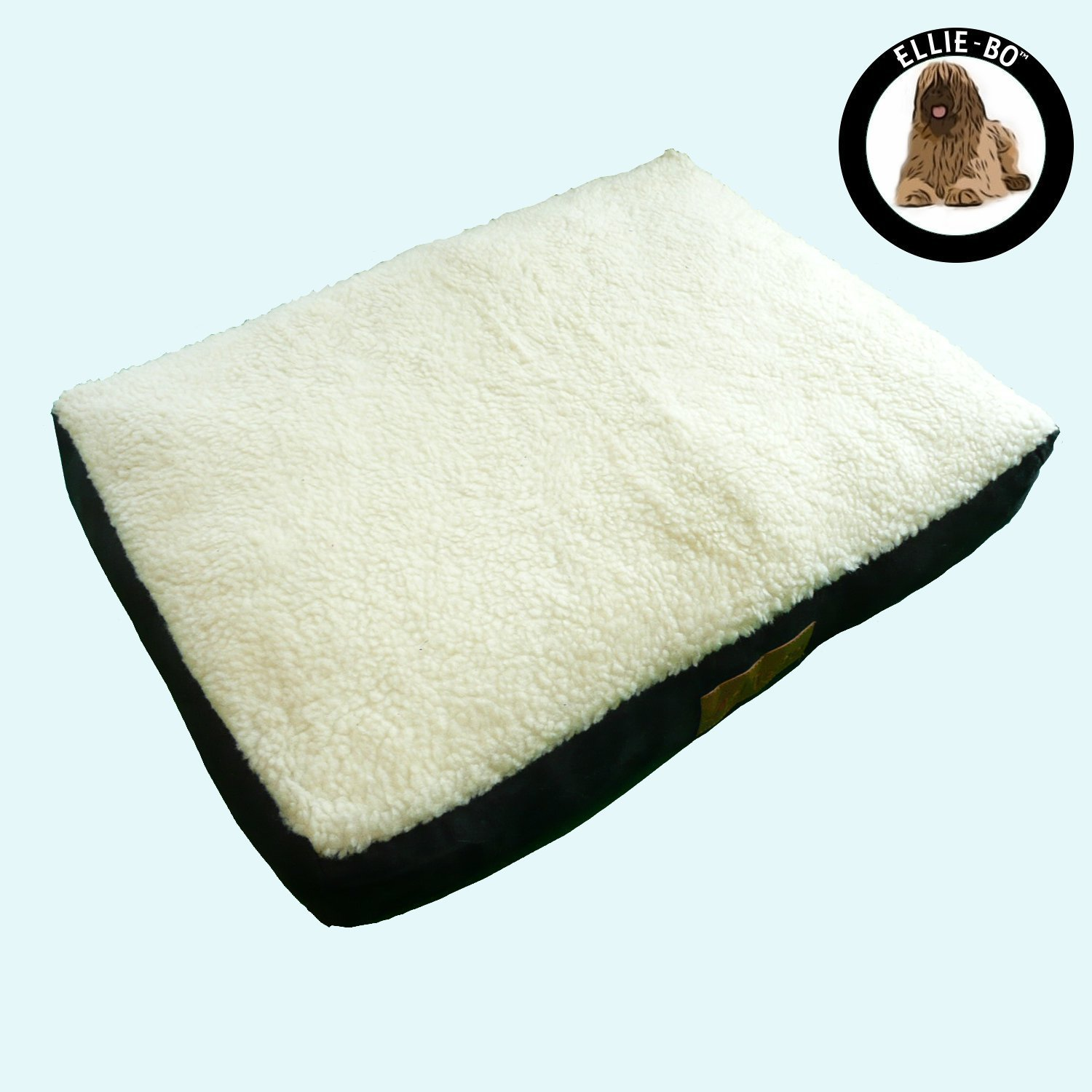 Ellie-Bo Jumbo Dog Bed with Faux Suede and Sheepskin Topping, 152 x 100 cm, Black