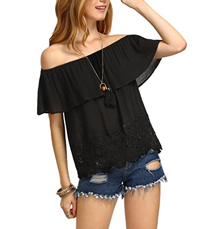 SheIn Women's Off Shoulder Ruffle Tassel Scalloped Hem Blouse Top