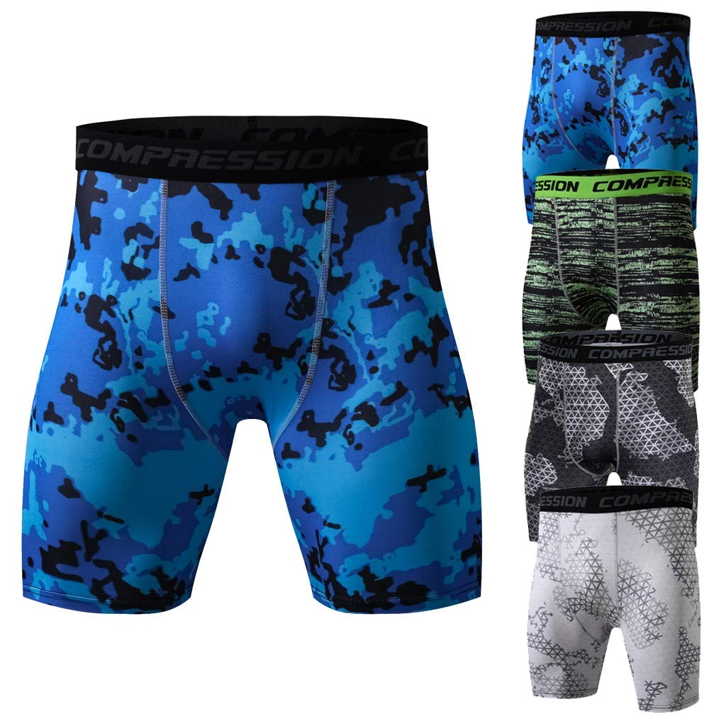 Men Fitness Fake Two Pieces Bodybuilding Skin Tight-drying Short Sports Pants CA