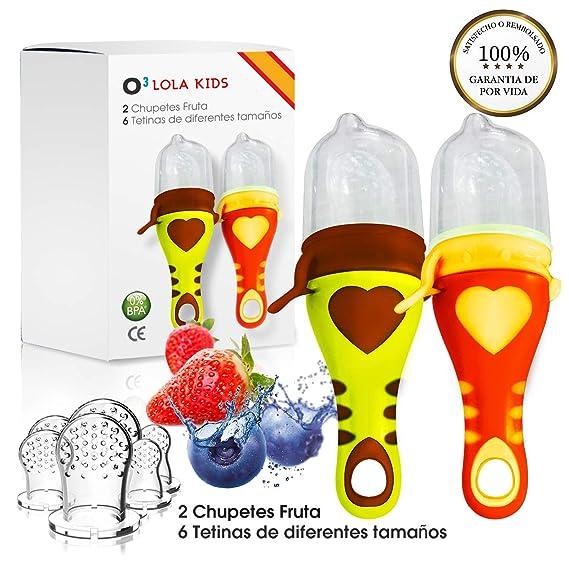 O³ Chupete Fruta – 2 Unidades con 6 Tetinas De Diferentes Tamaños – Alimentador Antiahogo Bebe Para Las Frutas y Verduras – Ayuda La Dentición De Bebé ...