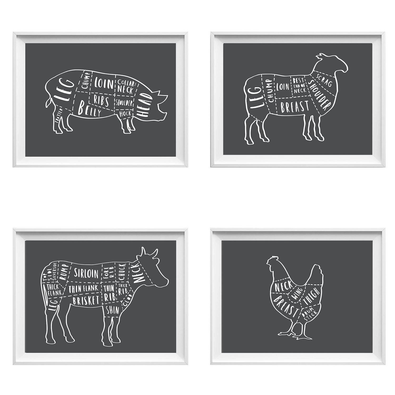 Set of Butcher prints kitchen wall decor butcher kitchen art
