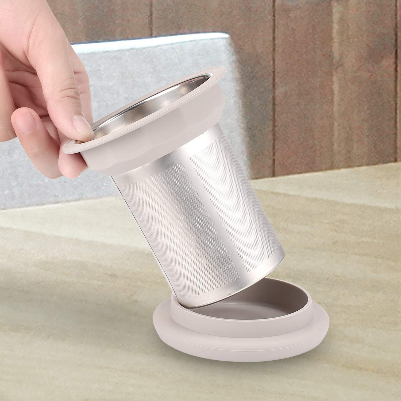 colador de t/é de malla extra fina con tapa Infusor de t/é de acero inoxidable con borde de silicona para t/é suelto