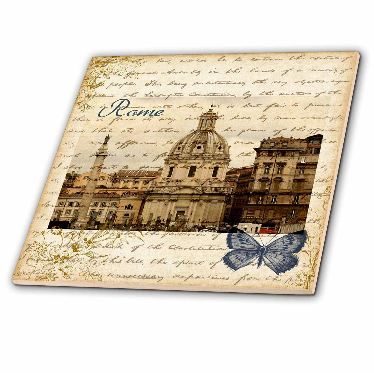 4 Italy Ceramic Tile 3dRose ct/_130622/_1 Rome with Script and Butterfly