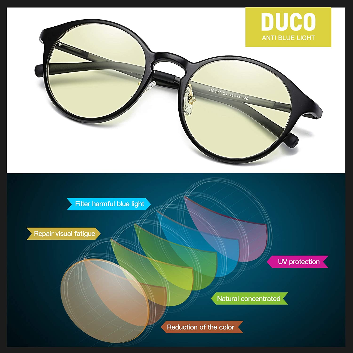bf1214a1c65 DUCO Blue Light Blocking Computer Reading and Gaming Eyewear Glasses ...