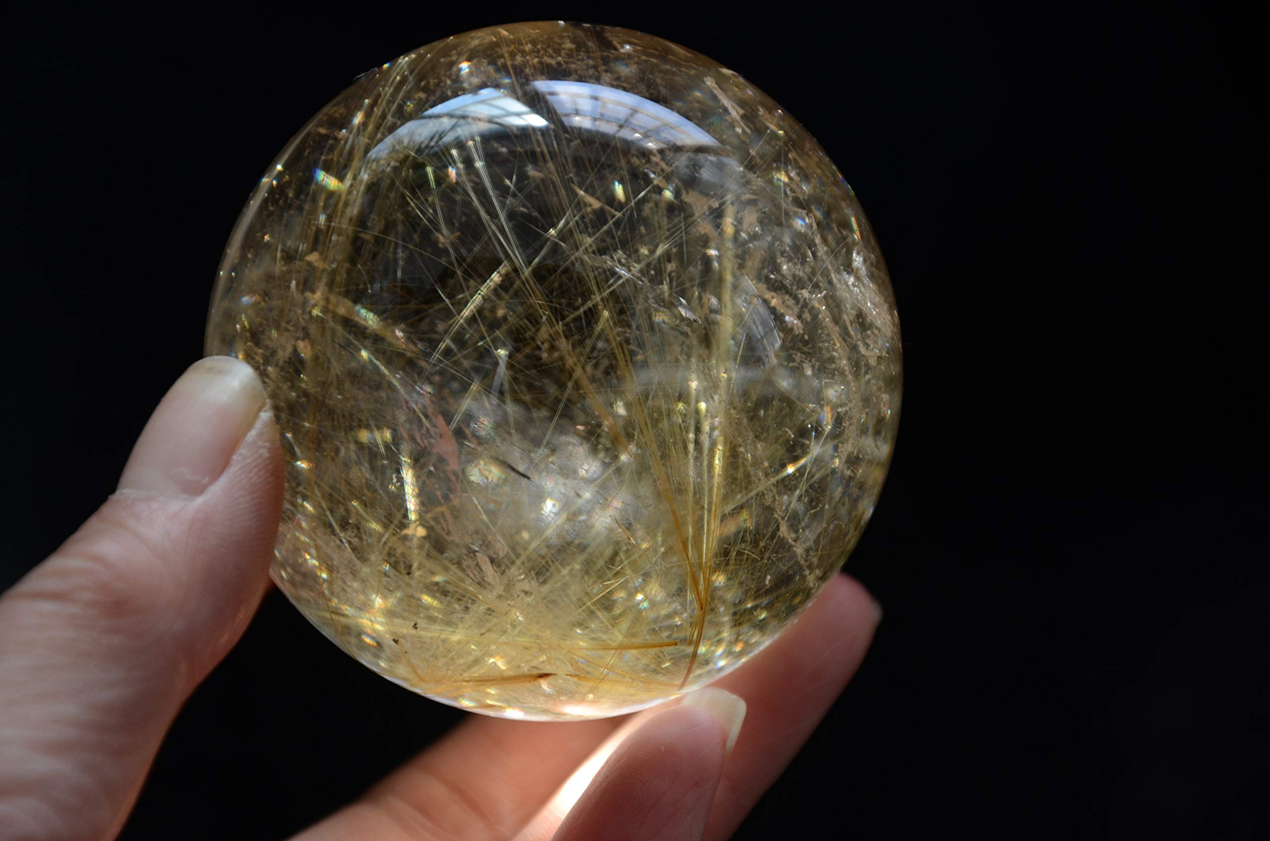 Real Tibetan Himalayan High Altitude Clear Gold Rutilated Crystal Quartz Ball Sphere Orb 2.51Inch Spiritual Reiki Healing