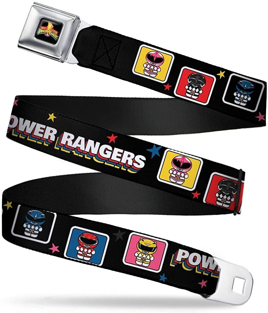 20-36 Inches in Length Power Rangers Chibi Blocks w//Stars 1.0 Wide Buckle-Down Seatbelt Belt