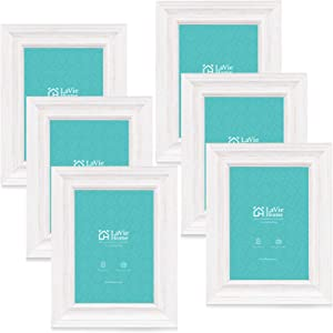 LaVie Home 5x7 Picture Frames (6 Pack, Distressed White Wood Grain) Rustic Photo Frame Set with High Definition Glass for Wall Mount & Table Top Display, Set of 6 Elite Collection