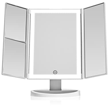 Beautyworks Backlit Makeup Vanity Mirror 36 LED Lights, Touch-Screen Light Control, Tri-Fold 1x 2X 3X Magnification, Portable High-Definition Clarity Cosmetic Light Up Magnifying Mirror (White)