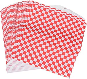 DOITOOL 100 Sheets Deli Paper Sheets Sandwich Wrap Paper Sheets,Red and White Checkered Food Wrapping Paper for Sandwich,Hamburger Basket Liner (28 x 26cm)