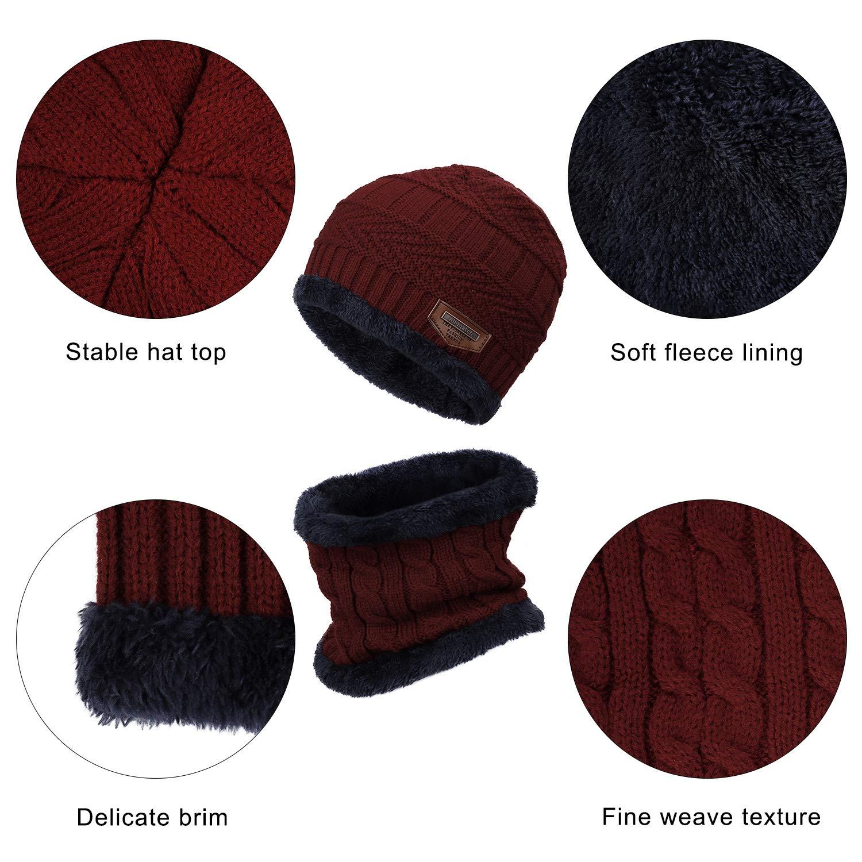 Vino Rosso MengH-SHOP Cappello Bambino Invernali in Maglia con Sciarpa Unisex in Maglia Beanie Inverno Sciarpe da Sci allaperto e Set Sciarpa