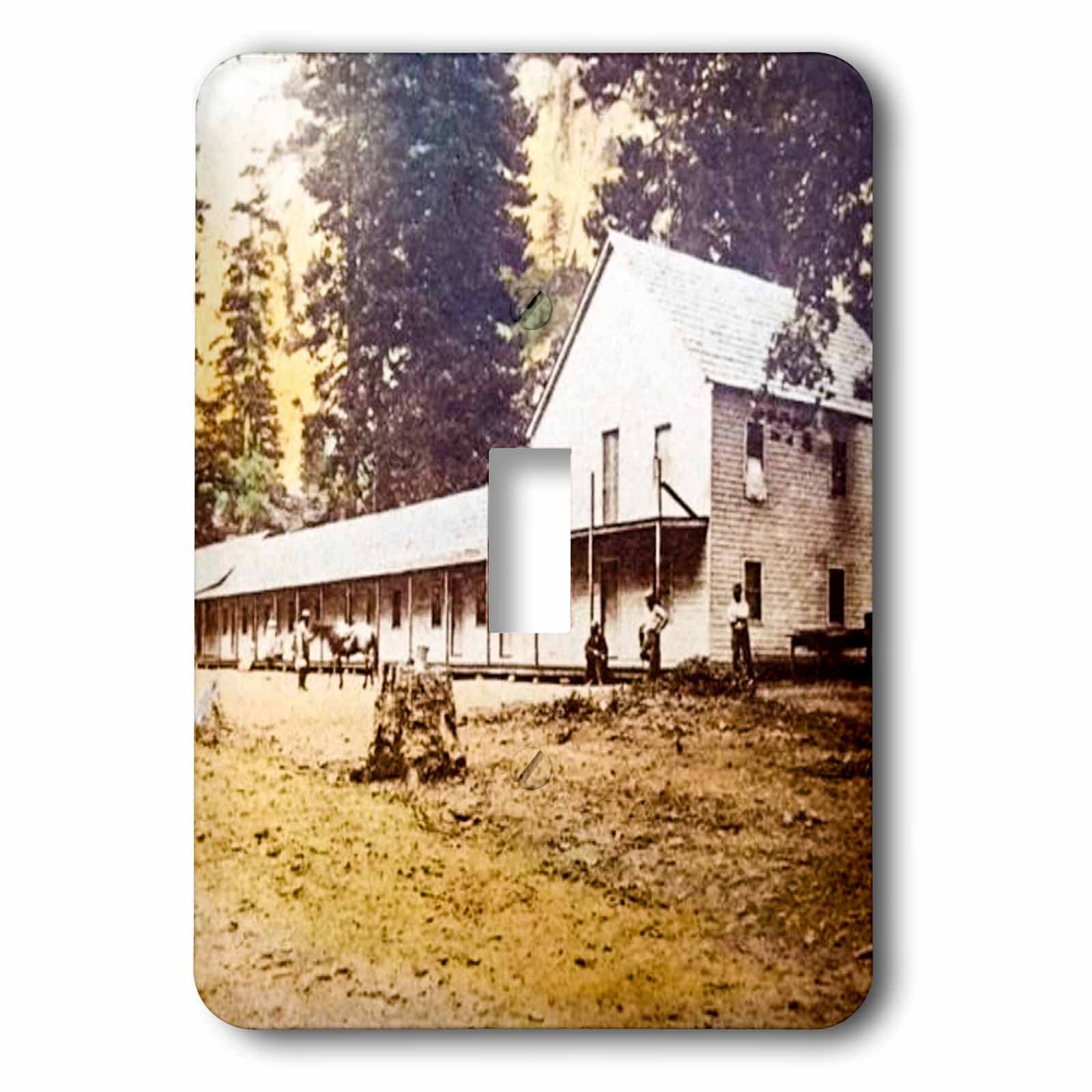 3dRose Scenes from the Past Vintage Stereoview Cards - Blacks Hotel Yosemite Valley Mariposa County 1880s Vintage Stereoview - Light Switch Covers - single toggle switch (lsp_269970_1)