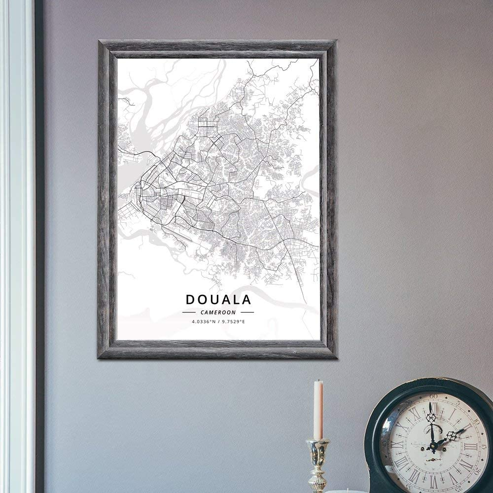 ZWXDMY Impression sur Toile,Cameroun Douala Ville Carte Noir Et Blanc Imprimer R/ésum/é Texte Minimaliste Toiles Murale Ancienne Peinture Bureau D/Étude Maison,20/×30Cm