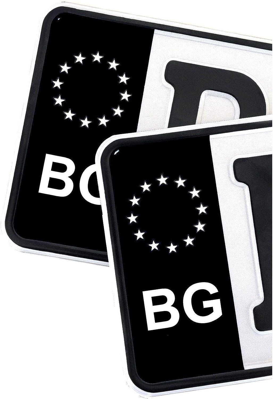 2 x Kennzeichen EU Feld Nummernschild Aufkleber Folie KFZ Schwarz R059 /Österreich