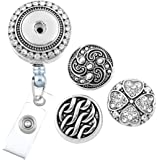 MJARTORIA Retractable Rhinestone Clover Snap Buttons Business ID Badge Reel Holder with Clip Backin