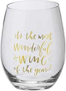Primitives By Kathy 108450 Most Wonderful Wine Of The Year Wine Glass, 15 oz, Clear