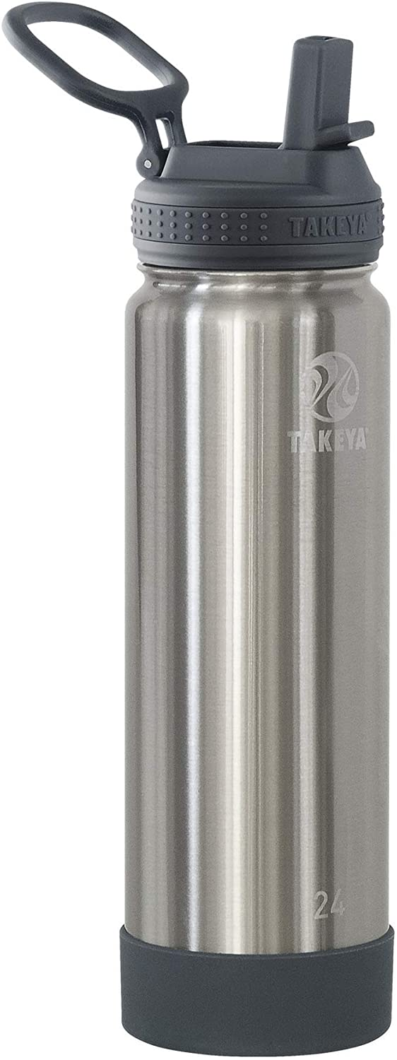 Takeya Actives Insulated Water Bottle w/Straw Lid, Stainless Steel, 24 Ounce