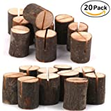 Rustic Wood Table Numbers Holder Wood Place Card Holder Party Wedding Table Name Card Holder Memo Note Card (20 pcs)