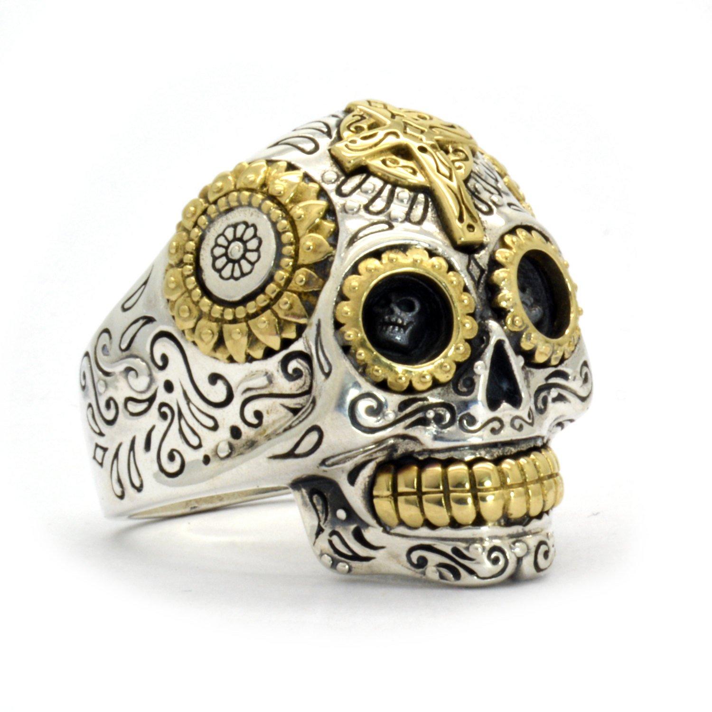 Sterling Silver Biker Sugar Skull Ring for Men (Size 13.5) - 1 Oz of Handcrafted Silver