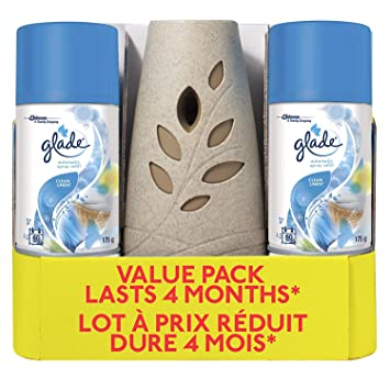 f82817daeaac Glade Automatic Spray Holder and Clean Linen Refill Starter Kit (value  pack), Battery-Operated Holder for Automatic Spray Refill, Includes 2  Refills ...