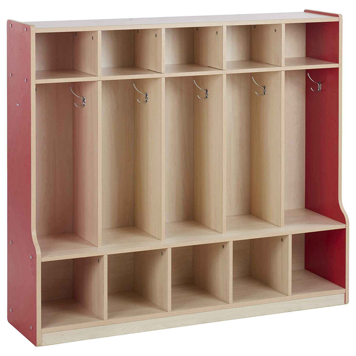 Colorful Essentials 5-Section Laminate Coat Locker with Bench, Shoe Storage Cubbies, Hooks for Backpacks and Hats; Children's Furniture for Classroom, Preschool, Daycare, Home Learning - Maple/Red