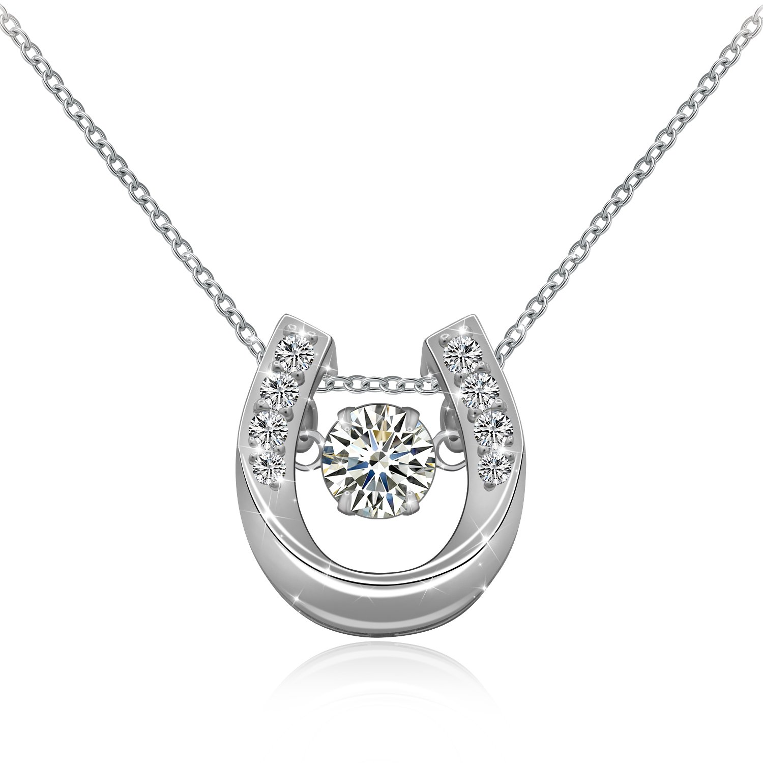 ACJNA 925 Sterling Silver Small Horseshoe with CZ Flexibly U Pendant Necklace,Rolo Chain 18''