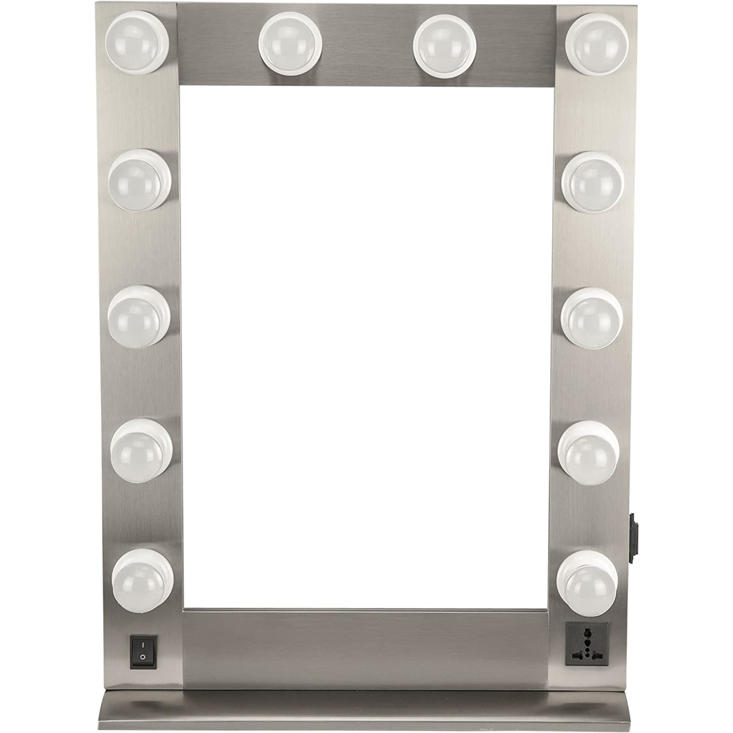 Hiker HKL4205 Hollywood Vanity Mirror with 12 LED Lights, Wall Mountable, Metal Base Stand and Frame in Brush Metal HKL4205RMSL