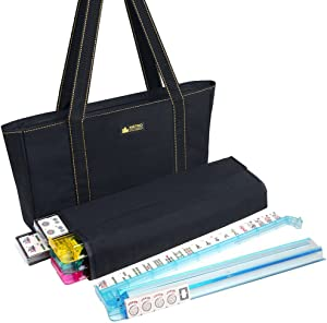 American Mah Jongg Set - 166 Premium Ivory Tiles, 4 All-In-One Rack/Pushers, Black Canvas Bag