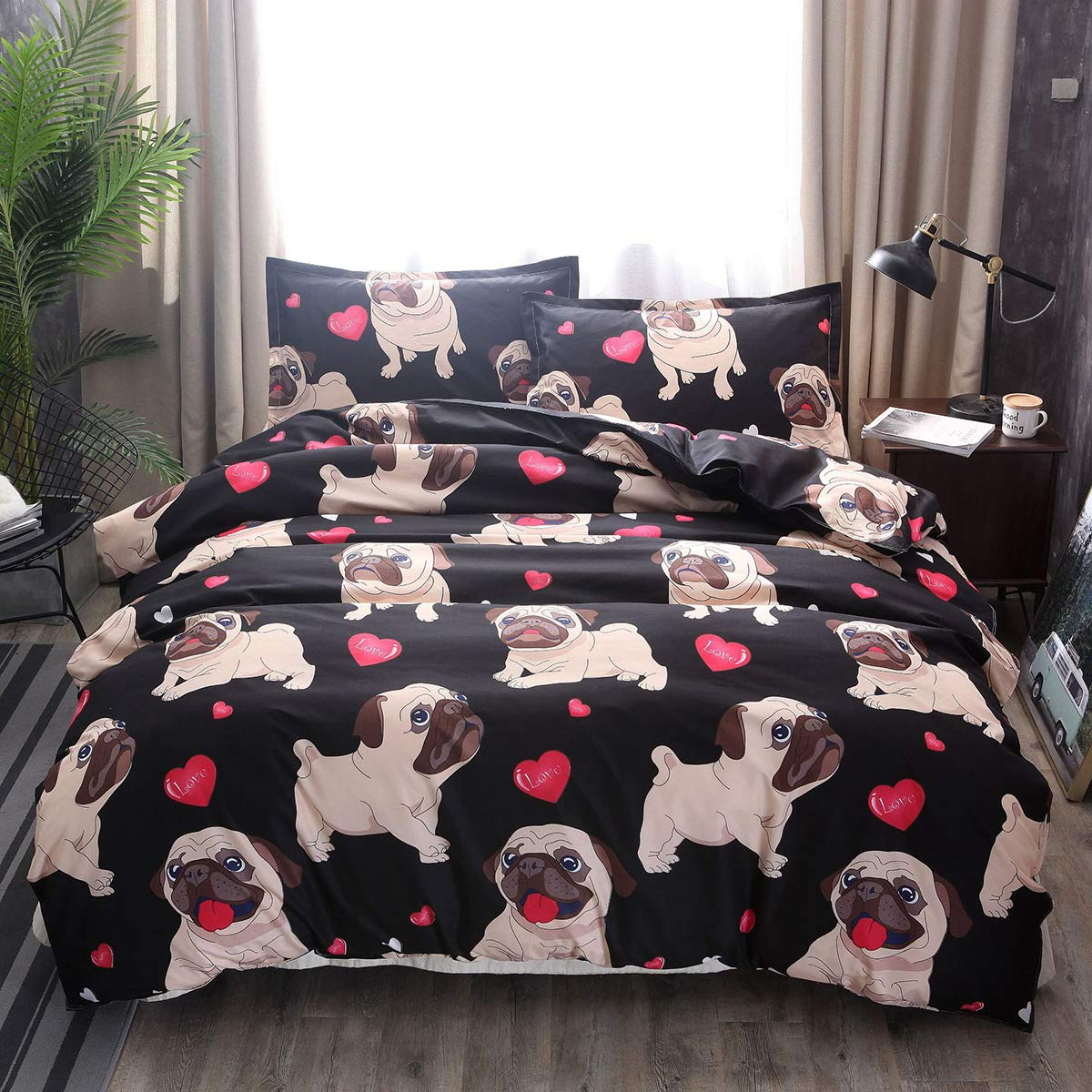 Koongso Pug Duvet Cover Cartoon Cute Pug Love Hearts Beddings 3D Boys Girls Pretty Duvet Cover Sets with 2 Pillow Shams