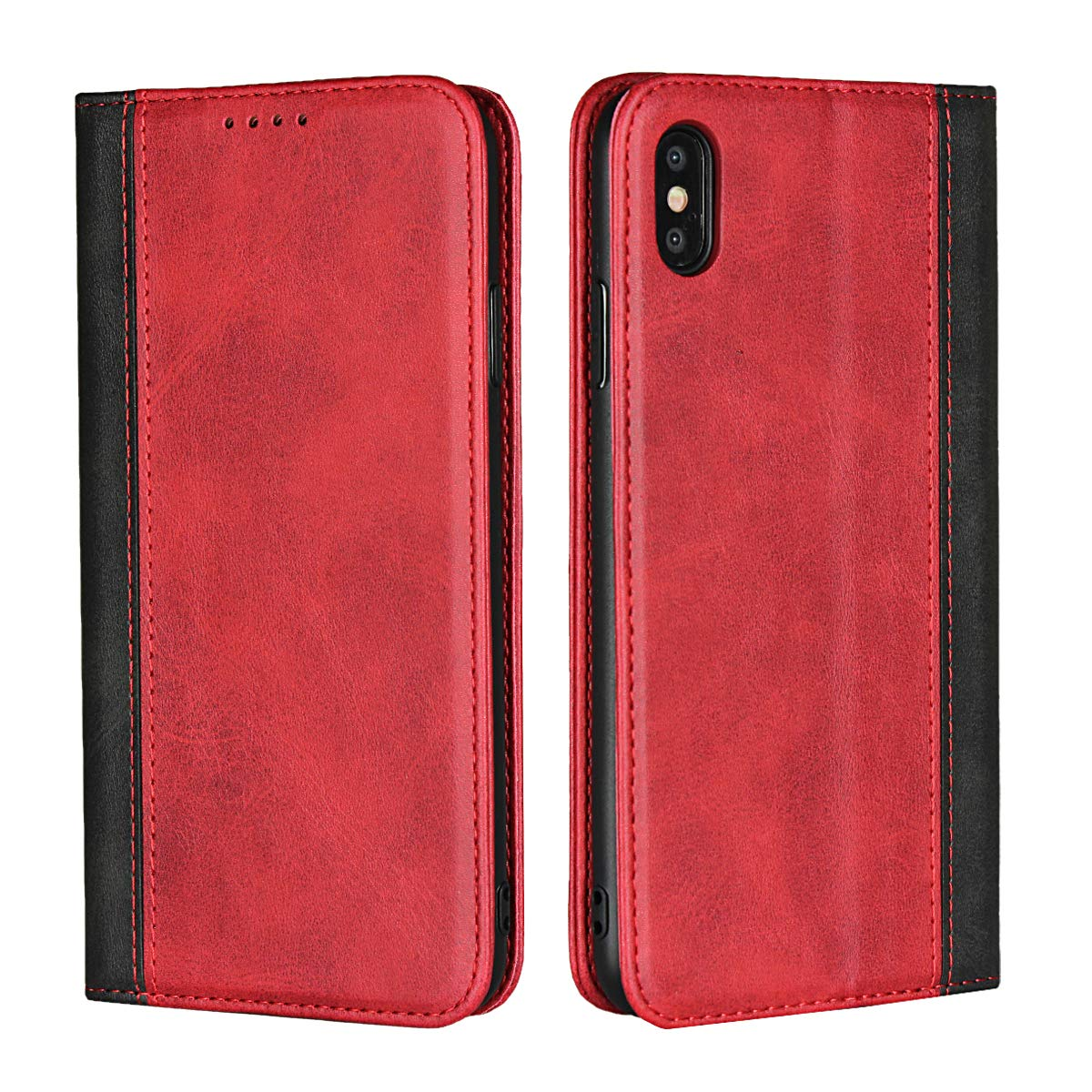 iPhone Xs Max用Jaorty、カードスロット付きプレミアムPUレザーフリップフォリオケース、スタンドホルダーとマグネットクロージャー[TPU耐衝撃性インテリア保護ケース] iPhone Xs Max用、レッド+ブラック   B07JN673CW