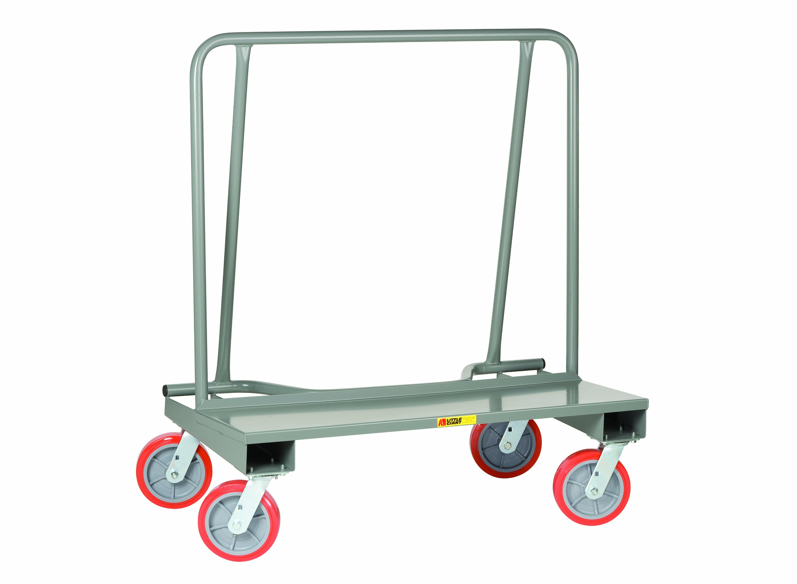 Little Giant DC-2444-8PY Steel Deck Drywall Cart with 8'' Polyurethane Wheel, 2000 lbs Capacity, 44'' Length x 24'' Width x 51'' Height