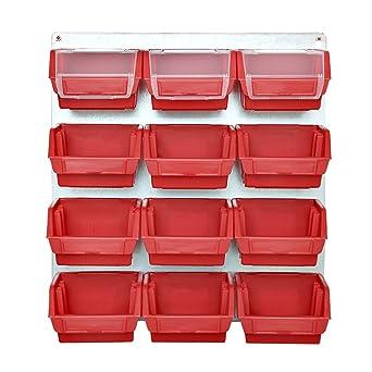 Rojo Metal pared con cajas apilables Cajas de almacenamiento metal Taller pared 13 piezas Visión Cajas