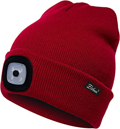 USB Rechargeable Winter Knit Lighted Headlight Hats Headlamp Cap Gift for Men and Women Unisex LED Beanie Hat with Light
