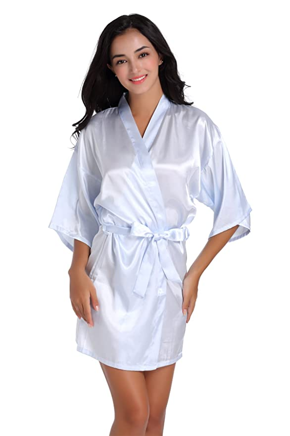 Casa Kimono de Mujer Batas Cortas Ropa de Dormir de Seda Satinada Boda Albornoces de Novia: Amazon.es: Ropa y accesorios
