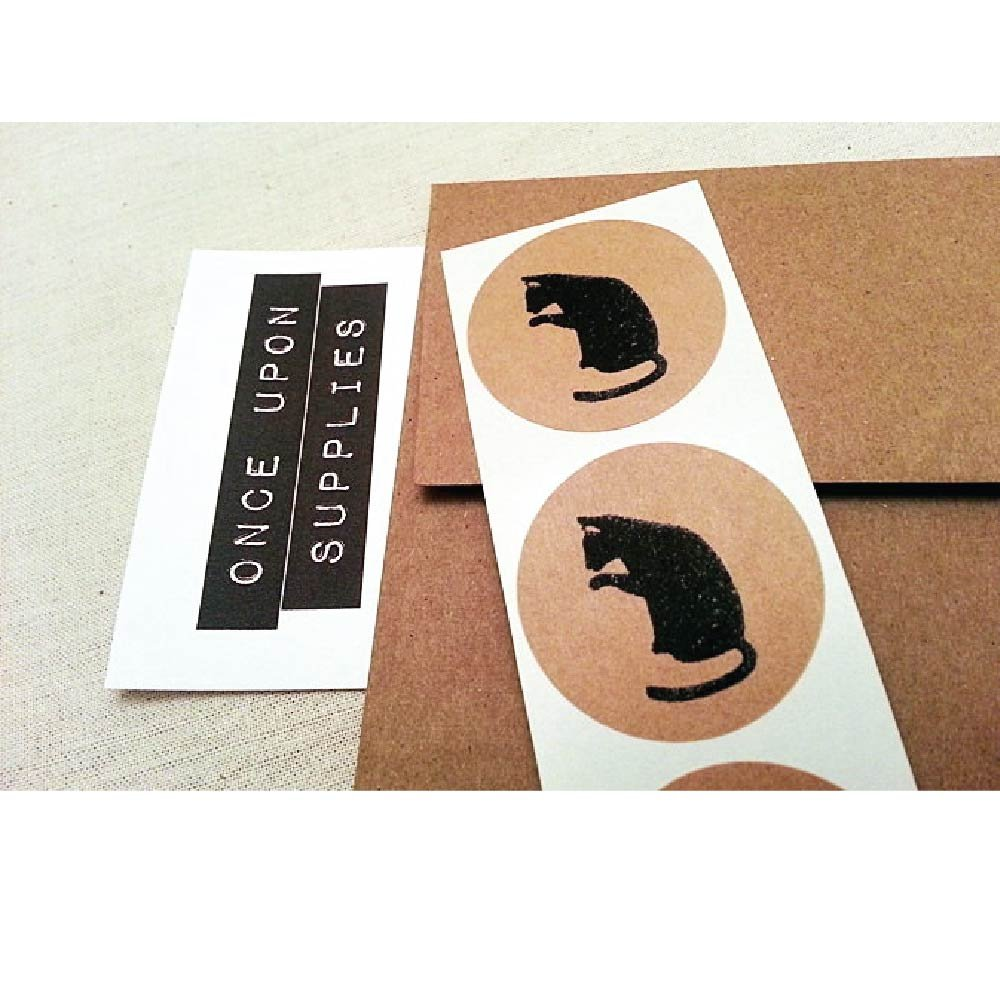 Black Cat Stickers, Rustic Kraft Brown Round Envelope Seals and Party Favor Labels, by Once Upon Supplies, 1.5'', 60 Stickers