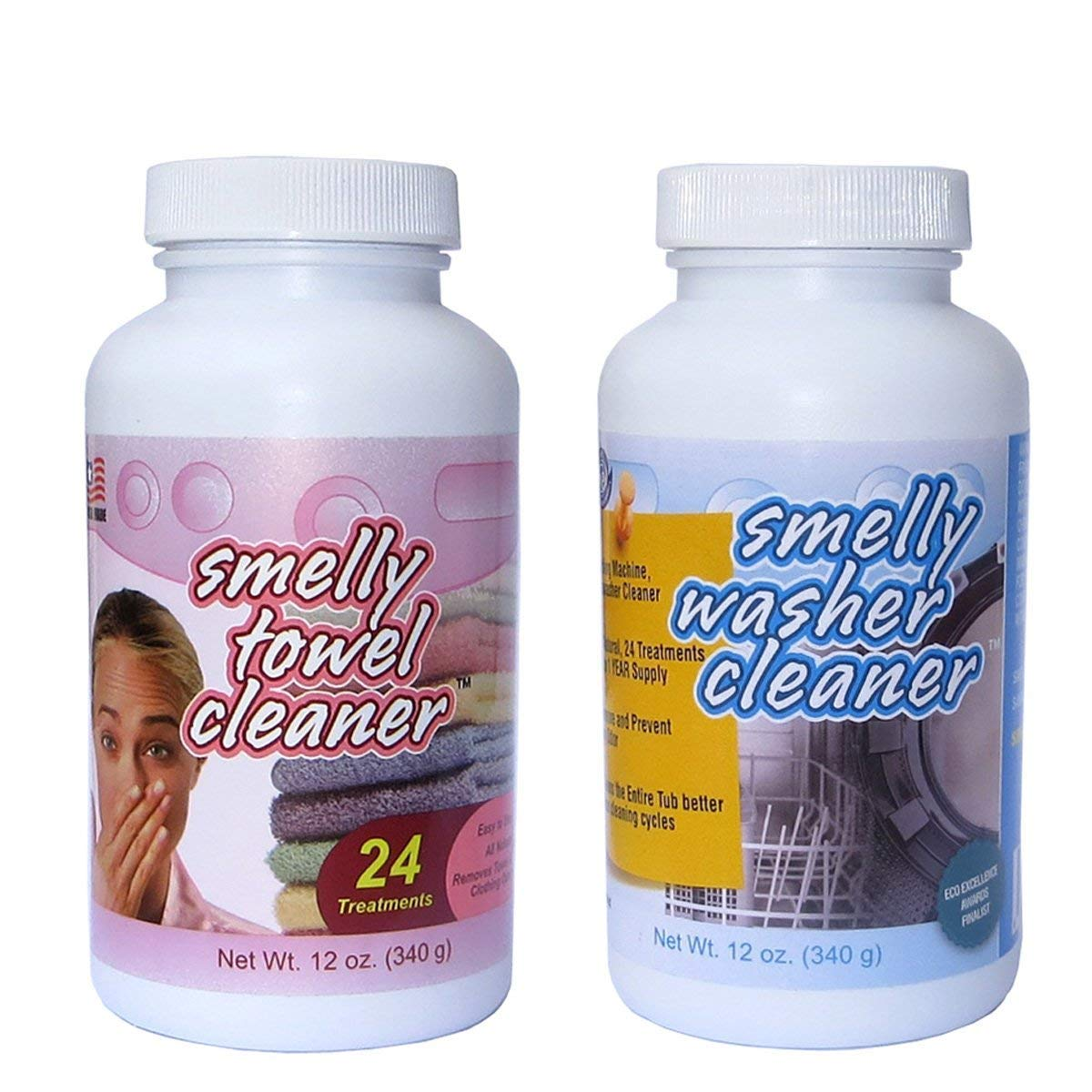 Smelly Washer Combo Pack of Washing Machine/Dishwasher Cleaner and Smelly Towel, 2-Pack (12-Ounce Bottles) by Smelly Washer