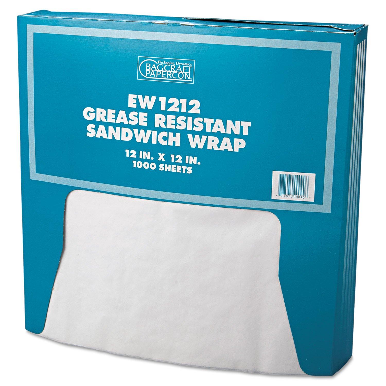 BGC 57012 Grease-Resistant Paper Wrap/Liner, 12 x 12, White, 1000/Box, 5 Boxes/Carton