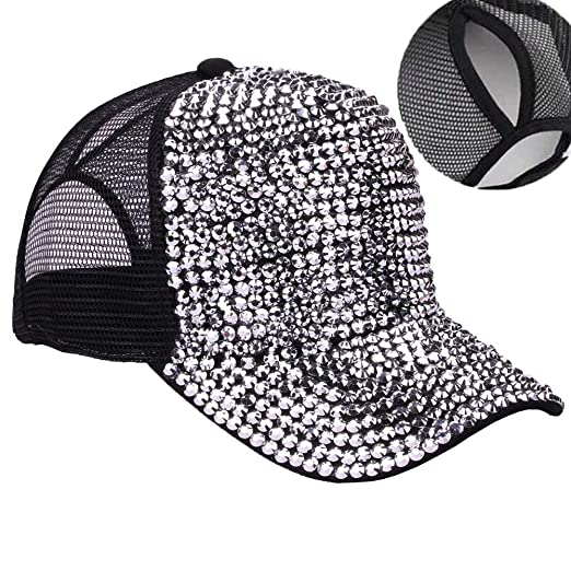 4099b8b6226 CRUOXIBB High Bun Ponytail Baseball Cap Hat Rhinestone Studded Bling  Adjustable Mesh Trucker Ponycap (Black