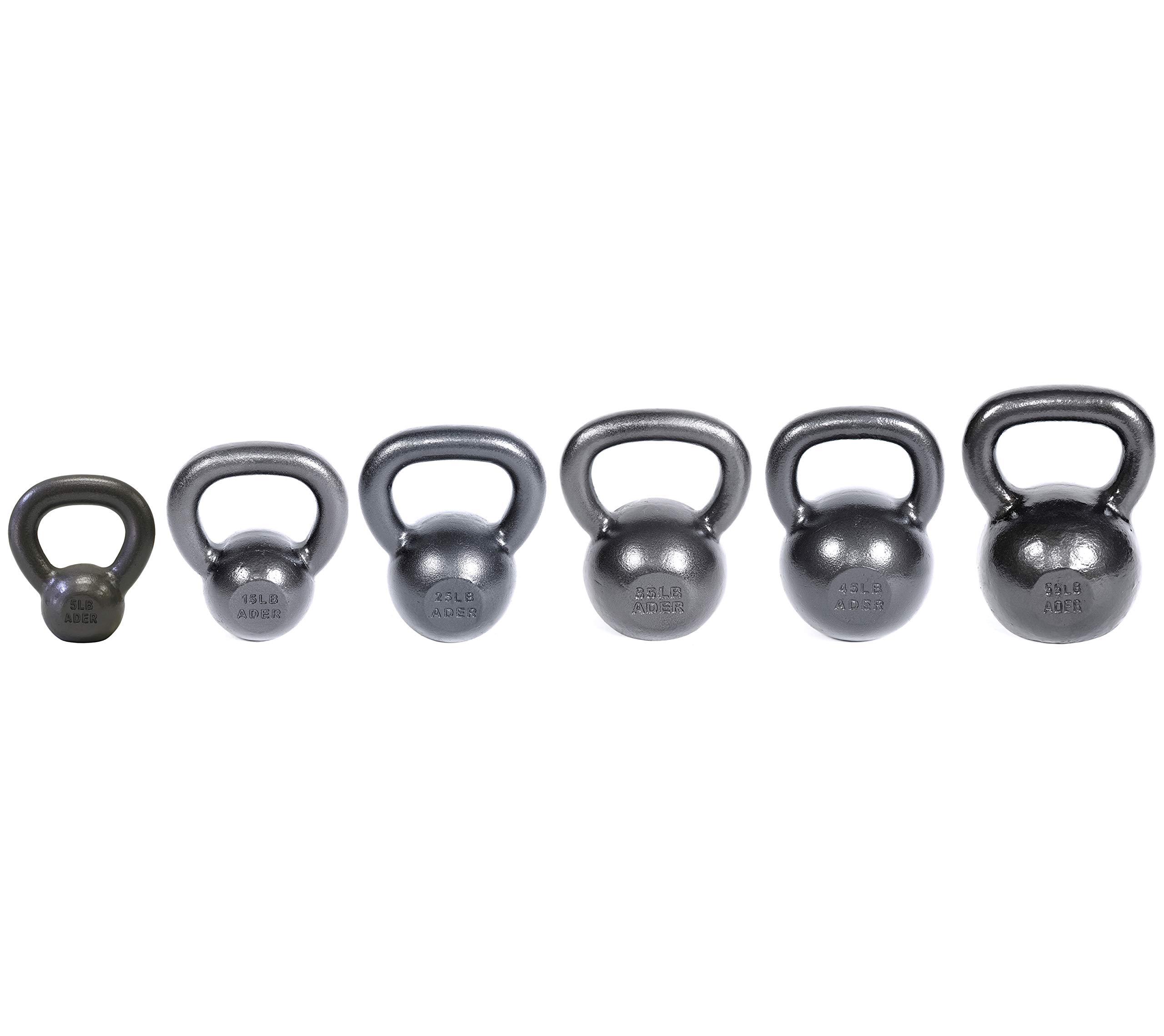 Ader Premier Kettlebell Set (5, 15, 25, 35, 45, 55 Lbs) w/DVD & Gym Chalk Ball