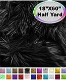 "Barcelonetta   Half Yard Faux Fur   18"" X 60"" Inch   Craft Supply, Costume, Decoration (Black)"