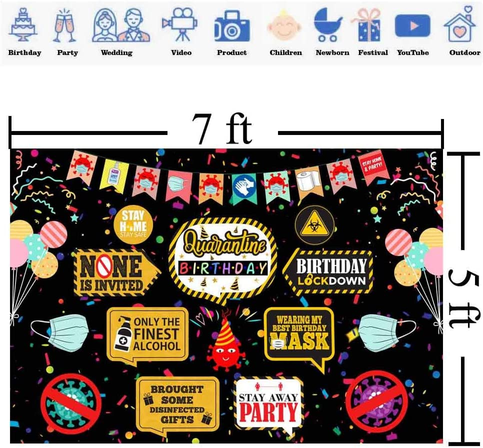 Quarantine Birthday Decorations Banner Caution Sign Banner for Boys Kids 1st First Birthday Party Photography Background Social Distancing Backdrop Birthday Party Idea Supplies 7x5ft HL-08