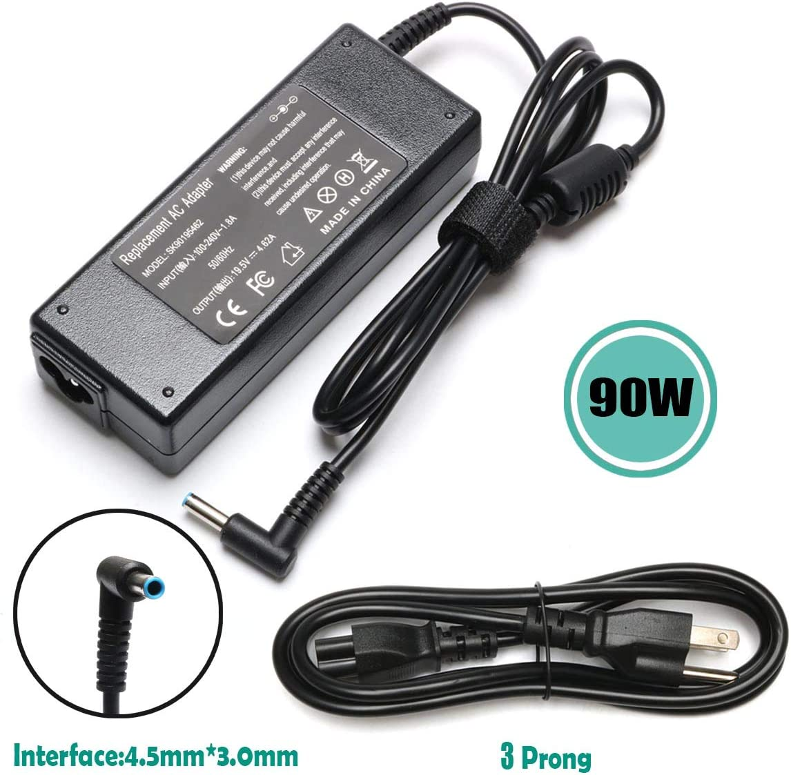 90W AC Adapter Laptop Charger for HP Pavilion 17 15 17-e110dx 17-e117dx 17-e118dx 17-e016dx 17-e119wm 17-e049wm 15-e043cl Envy 17 15 17-j153cl 17-j043cl 15-p214dx TouchSmart Power Supply Cord