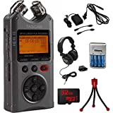 Tascam Portable Digital Recorder Luminous Gray (DR-40G) with AC Adapter, Travel Charger with 4AA Batteries, Professional Headphones, Flexible Mini Table-top Tripod & 32GB MicroSD Memory Card