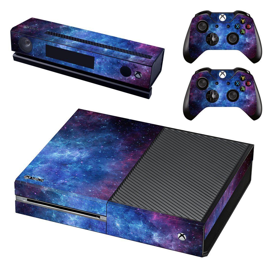 UUShop Protective Vinyl Skin Decal Cover for Microsoft Xbox One Console wrap sticker skins with two Free wireless controller decals Blue and Purple Nebula(NOT for One S or X)