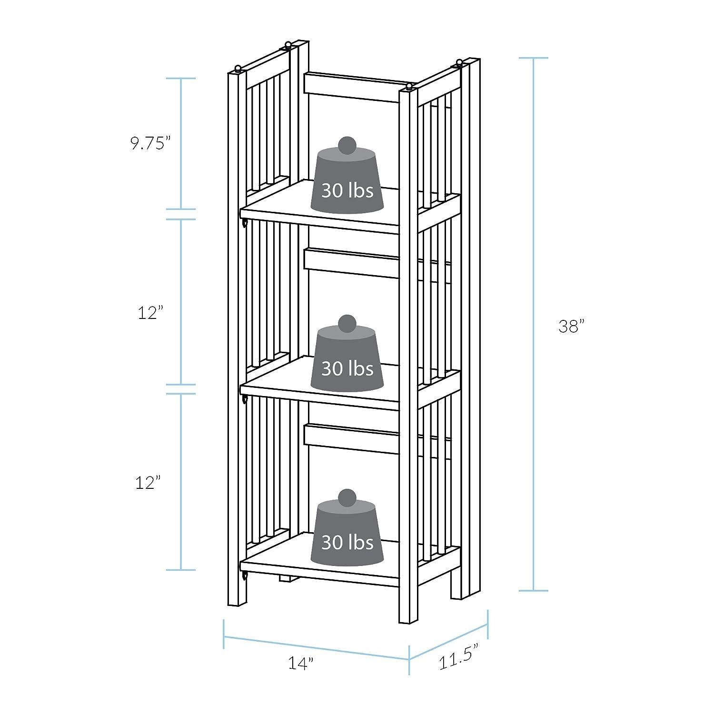 Casual Home 331-35 3-Shelf Folding Stackable Bookcase 14 In Wide Honey Oak New